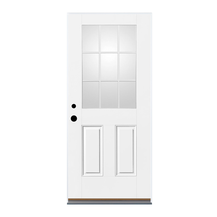 Therma-Tru Benchmark Doors 2-Panel Insulating Core 9-Lite Right-Hand Inswing White Fiberglass Primed Prehung Entry Door (Common: 32-in x 80-in; Actual: 33.5-in x 81.5-in)
