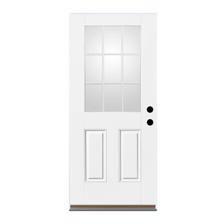Therma-Tru Benchmark Doors 2-Panel Insulating Core 9-Lite Right-Hand Outswing White Fiberglass Primed Prehung Entry Door (Common: 36-in x 80-in; Actual: 37.5-in x 80.5-in)