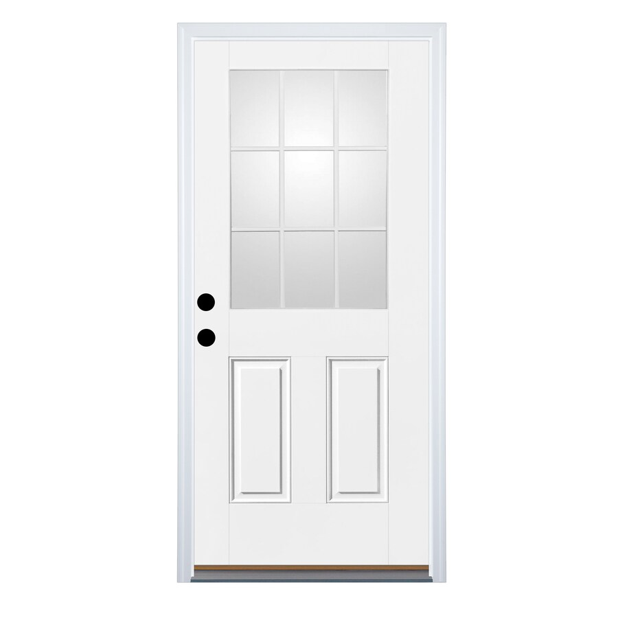 Therma-Tru Benchmark Doors 2-Panel Insulating Core 9-Lite Right-Hand Inswing Fiberglass Unfinished Prehung Entry Door (Common: 32-in x 80-in; Actual: 33.5-in x 81.5-in)
