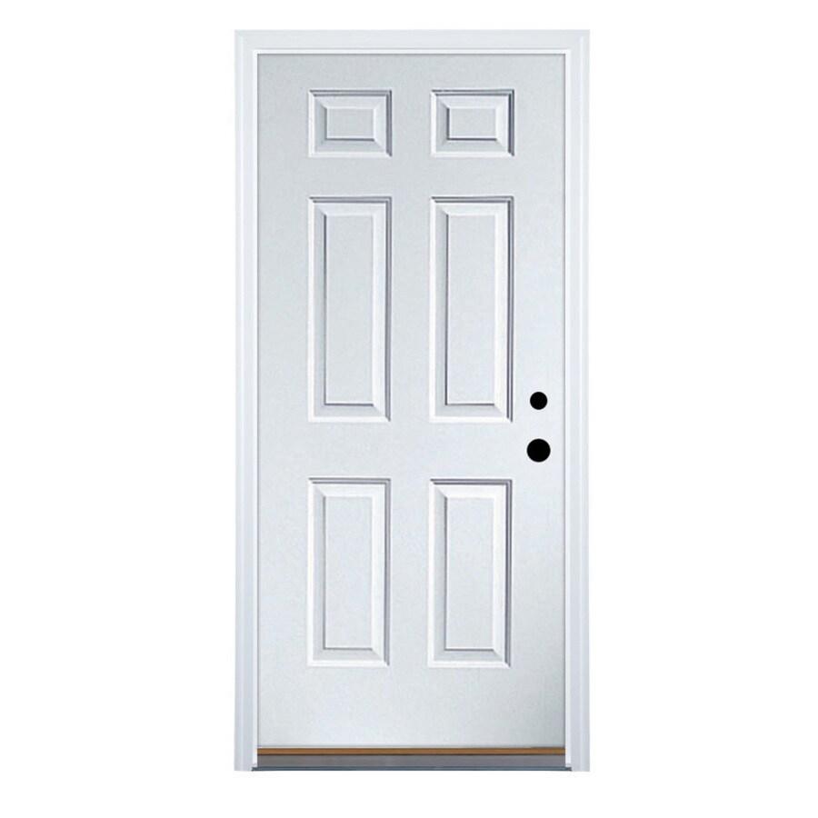 Therma-Tru Benchmark Doors 6-Panel Insulating Core Left-Hand Inswing White Steel Primed Prehung Entry Door (Common: 32-in x 80-in; Actual: 33.5-in x 81.5-in)
