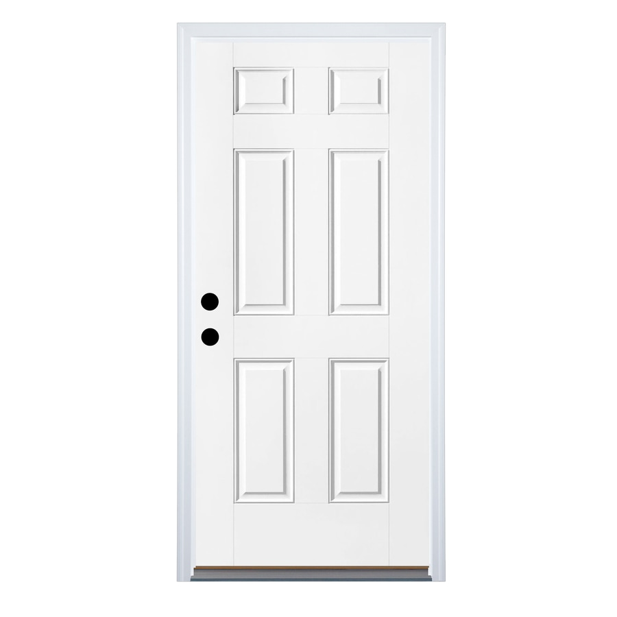 Therma-Tru Benchmark Doors 6-Panel Insulating Core Right-Hand Inswing White Steel Primed Prehung Entry Door (Common: 36-in x 80-in; Actual: 37.5-in x 81.5-in)