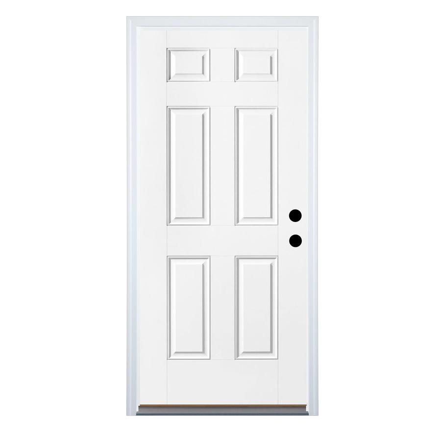 Therma-Tru Benchmark Doors 6-Panel Insulating Core Left-Hand Inswing White Steel Primed Prehung Entry Door (Common: 36-in x 80-in; Actual: 37.5-in x 81.5-in)