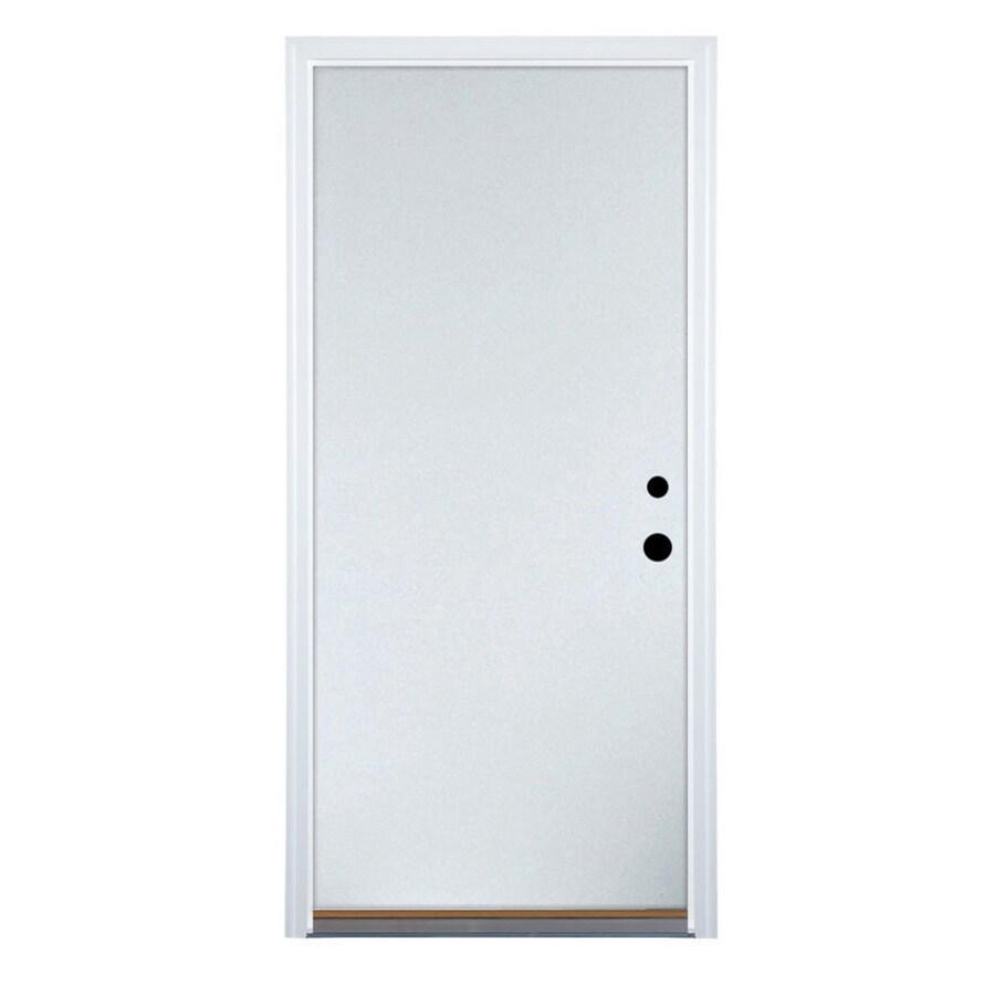 Therma-Tru Benchmark Doors Flush Insulating Core Left-Hand Inswing White Steel Primed Prehung Entry Door (Common: 32-in x 80-in; Actual: 33.5-in x 81.5-in)