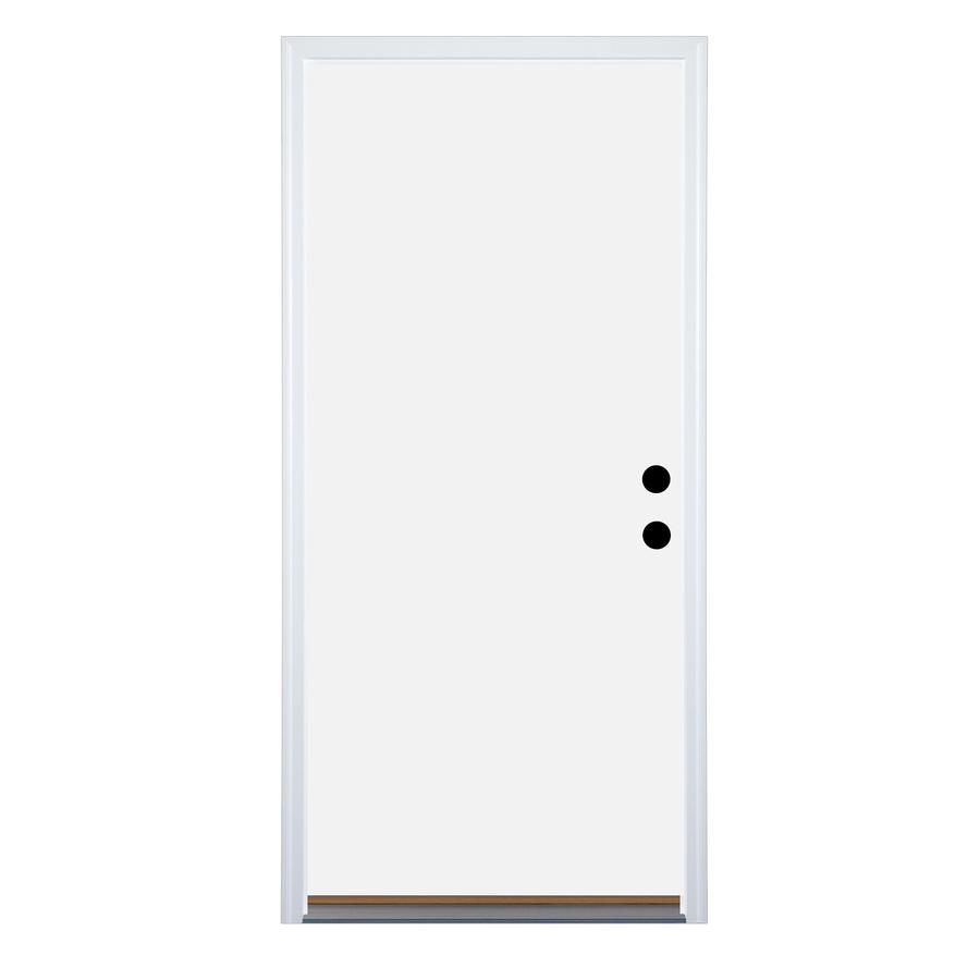 Therma-Tru Benchmark Doors Flush Insulating Core Left-Hand Inswing White Steel Primed Prehung Entry Door (Common: 36-in x 80-in; Actual: 37.5-in x 81.5-in)