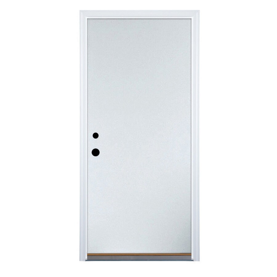 Therma-Tru Benchmark Doors Flush Insulating Core Right-Hand Inswing White Steel Primed Prehung Entry Door (Common: 36-in x 80-in; Actual: 37.5-in x 81.5-in)