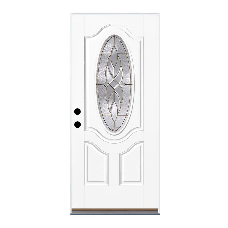 Therma-Tru Benchmark Doors Varissa 2-Panel Insulating Core Oval Lite Right-Hand Inswing White Fiberglass Primed Prehung Entry Door (Common: 36-in x 80-in; Actual: 37.5-in x 81.5-in)