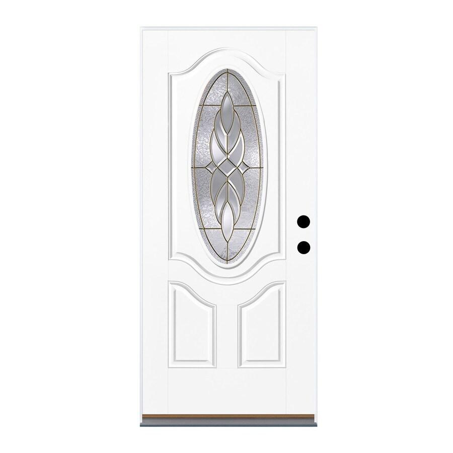 Therma-Tru Benchmark Doors Varissa 2-Panel Insulating Core Oval Lite Left-Hand Outswing Fiberglass Unfinished Prehung Entry Door (Common: 36-in x 80-in; Actual: 37.5-in x 80.5-in)