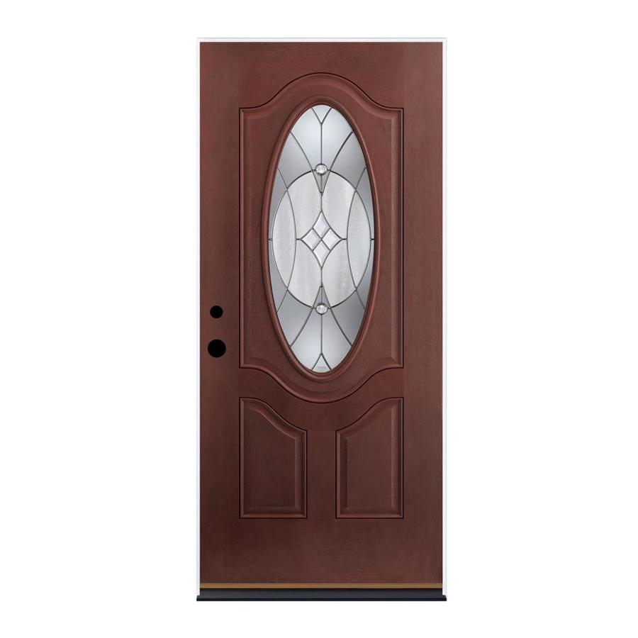 Therma-Tru Benchmark Doors Delano 2-Panel Insulating Core Oval Lite Left-Hand Outswing Dark Mahogany Fiberglass Stained Prehung Entry Door (Common: 36-in x 80-in; Actual: 37.5-in x 80.5-in)