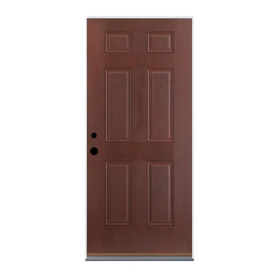 Therma-Tru Benchmark Doors 6-Panel Insulating Core Left-Hand Outswing Dark Mahogany Fiberglass Stained Prehung Entry Door (Common: 36-in x 80-in; Actual: 37.5-in x 80.5-in)