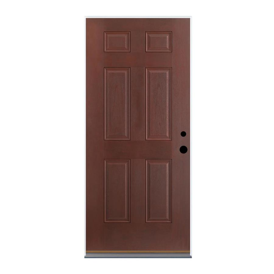 Therma-Tru Benchmark Doors 6-Panel Insulating Core Right-Hand Outswing Dark Mahogany Fiberglass Stained Prehung Entry Door (Common: 36-in x 80-in; Actual: 37.5-in x 80.5-in)