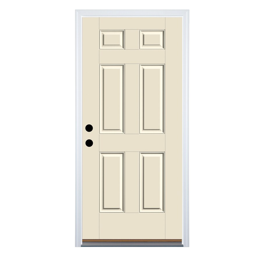 Therma-Tru Benchmark Doors 6-Panel Insulating Core Right-Hand Inswing Fiberglass Unfinished Prehung Entry Door (Common: 34-in x 80-in; Actual: 35.5-in x 81.5-in)