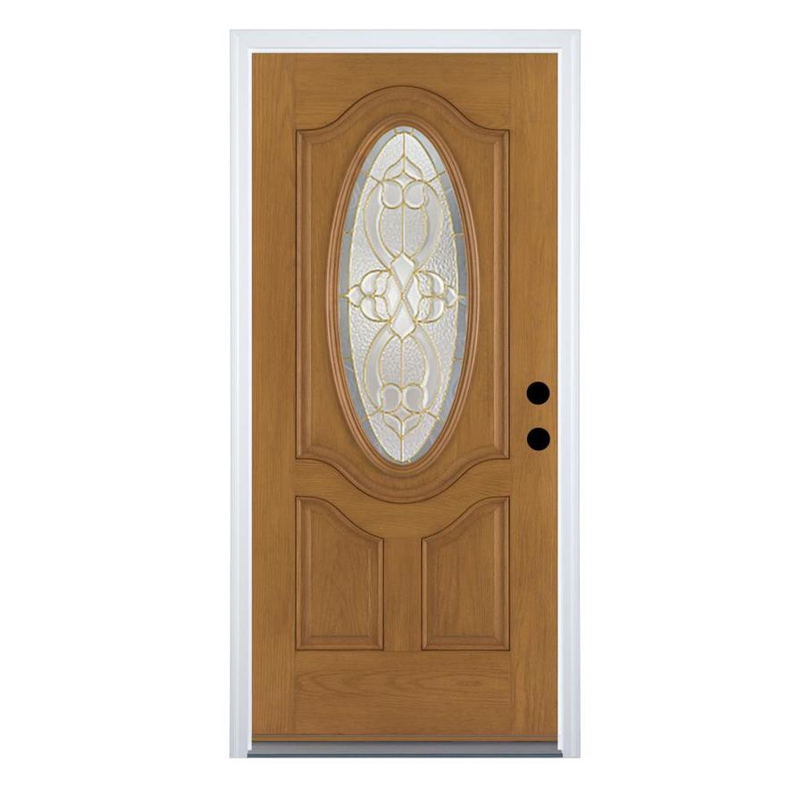 Therma-Tru Benchmark Doors Willowbrook 2-Panel Insulating Core Oval Lite Left-Hand Inswing Medium Oak Fiberglass Stained Prehung Entry Door (Common: 34-in x 80-in; Actual: 35.5-in x 81.5-in)