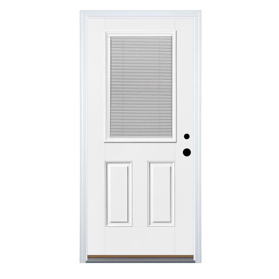 Therma-Tru Benchmark Doors 2-Panel Insulating Core Blinds Between The Glass Half Lite Left-Hand Inswing White Fiberglass Primed Prehung Entry Door (Common: 36-in x 80-in; Actual: 37.5-in x 81.5-in)