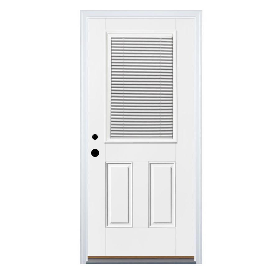 Therma-Tru Benchmark Doors 2-Panel Insulating Core Blinds Between The Glass Half Lite Right-Hand Inswing White Fiberglass Primed Prehung Entry Door (Common: 36-in x 80-in; Actual: 37.5-in x 81.5-in)