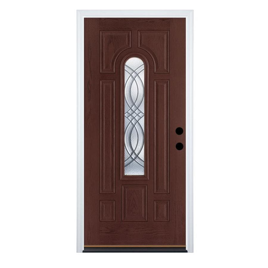 Therma-Tru Benchmark Doors TerraCourt 8-Panel Insulating Core Center Arch Lite Left-Hand Inswing Dark Mahogany Fiberglass Stained Prehung Entry Door (Common: 36-in x 80-in; Actual: 37.5-in x 81.5-in)