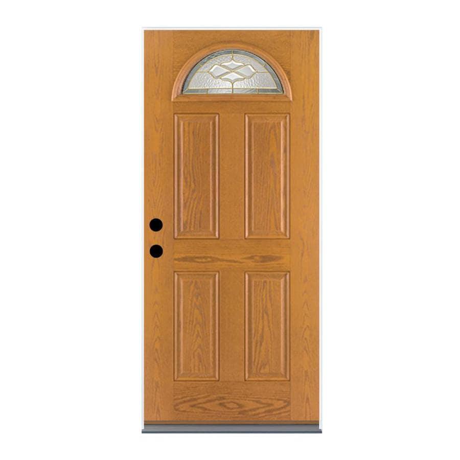 Therma-Tru Benchmark Doors Willowbrook 4-Panel Insulating Core Fan Lite Right-Hand Inswing Medium Oak Fiberglass Stained Prehung Entry Door (Common: 36-in x 80-in; Actual: 37.5-in x 81.5-in)