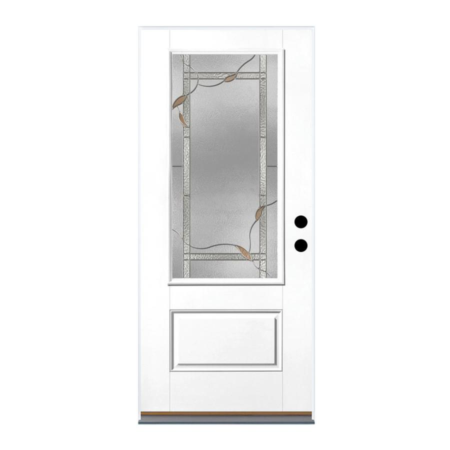 Therma-Tru Benchmark Doors Ashleigh 1-Panel Insulating Core 3/4 Lite Right-Hand Outswing White Fiberglass Primed Prehung Entry Door (Common: 36-in x 80-in; Actual: 37.5-in x 80.5-in)