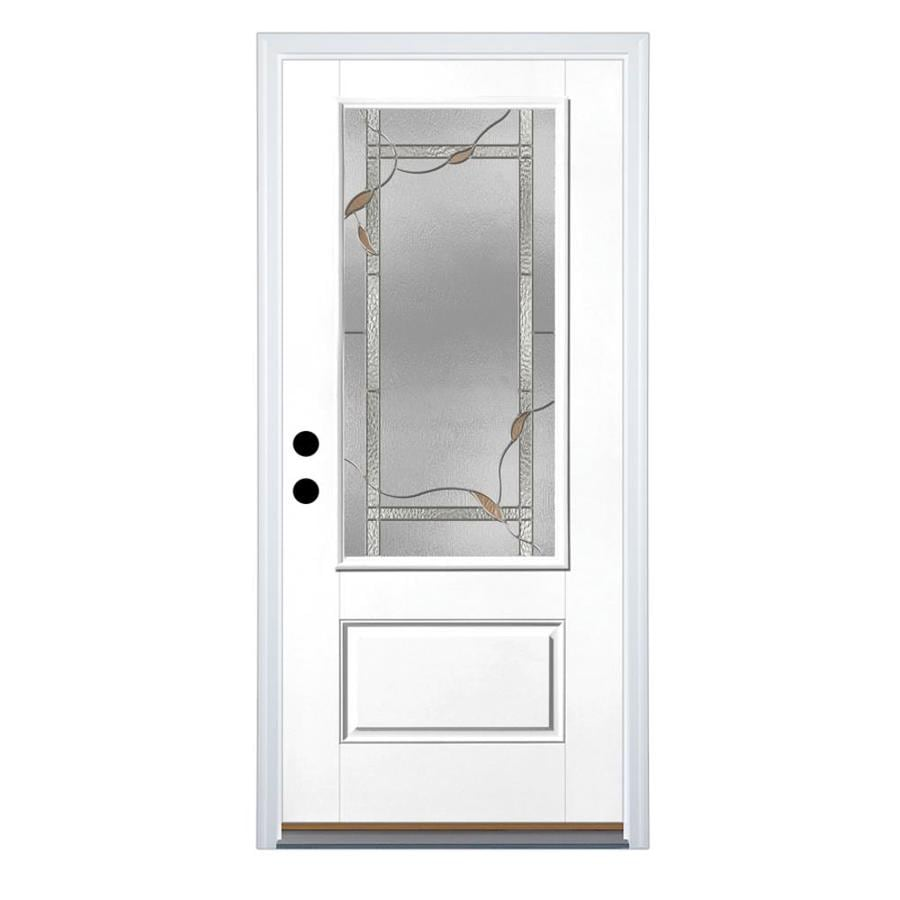 Therma-Tru Benchmark Doors Ashleigh 1-Panel Insulating Core 3/4 Lite Right-Hand Inswing White Fiberglass Primed Prehung Entry Door (Common: 36-in x 80-in; Actual: 37.5-in x 81.5-in)