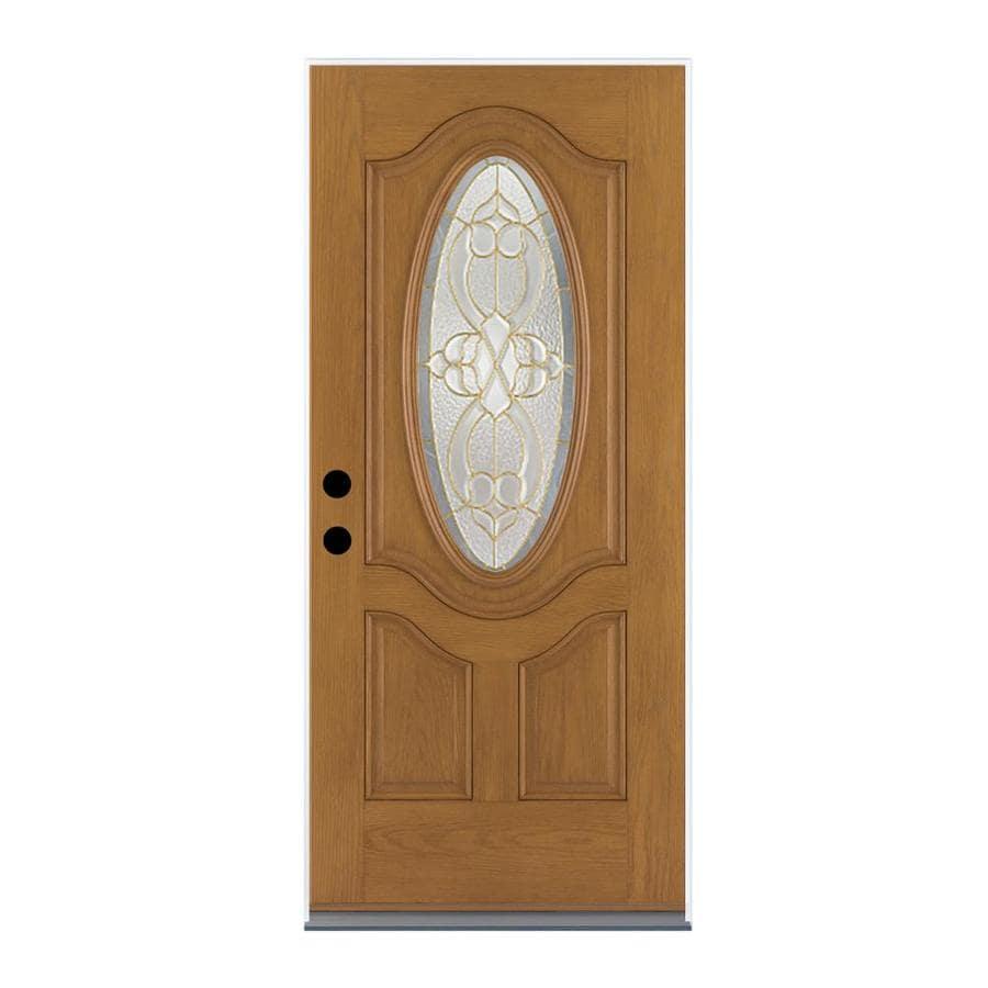 Therma-Tru Benchmark Doors Willowbrook 2-Panel Insulating Core Oval Lite Left-Hand Outswing Medium Oak Fiberglass Stained Prehung Entry Door (Common: 36-in x 80-in; Actual: 37.5-in x 80.5-in)