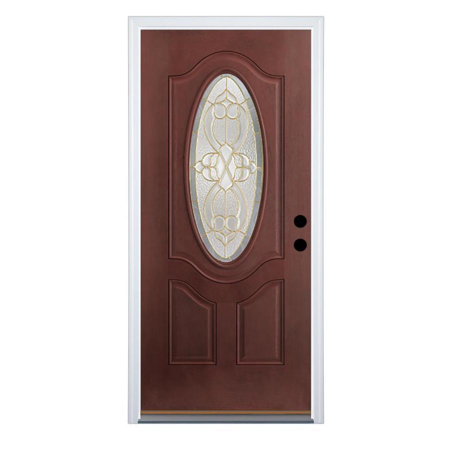 Therma-Tru Benchmark Doors Willowbrook 2-Panel Insulating Core Oval Lite Left-Hand Inswing Dark Mahogany Fiberglass Stained Prehung Entry Door (Common: 32-in x 80-in; Actual: 33.5-in x 81.5-in)