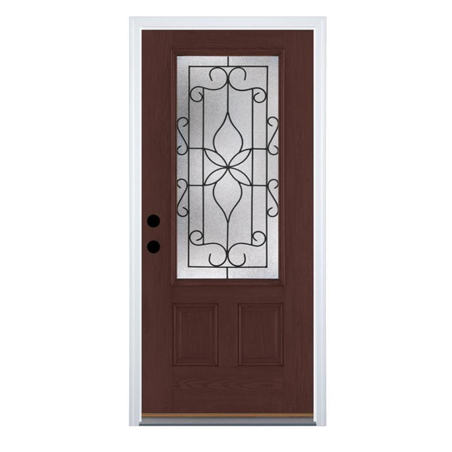 Therma-Tru Benchmark Doors Florentino 2-Panel Insulating Core 3/4 Lite Right-Hand Inswing Dark Mahogany Fiberglass Stained Prehung Entry Door (Common: 36-in x 80-in; Actual: 37.5-in x 81.5-in)