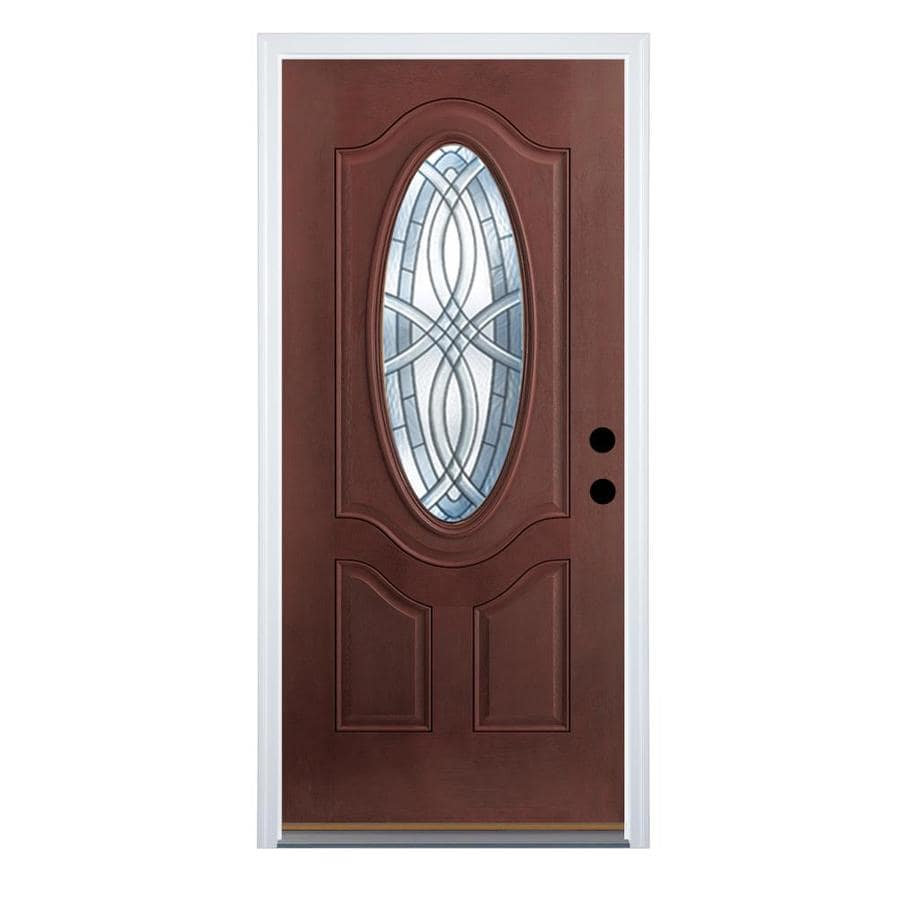 Therma-Tru Benchmark Doors TerraCourt 2-Panel Insulating Core Oval Lite Right-Hand Outswing Dark Mahogany Fiberglass Stained Prehung Entry Door (Common: 36-in x 80-in; Actual: 37.5-in x 80.5-in)