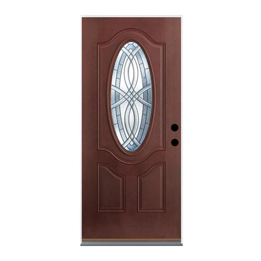 Therma-Tru Benchmark Doors TerraCourt 2-Panel Insulating Core Oval Lite Left-Hand Inswing Dark Mahogany Fiberglass Stained Prehung Entry Door (Common: 36-in x 80-in; Actual: 37.5-in x 81.5-in)