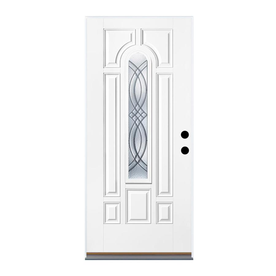 Therma-Tru Benchmark Doors TerraCourt 8-Panel Insulating Core Center Arch Lite Right-Hand Outswing White Fiberglass Primed Prehung Entry Door (Common: 32-in x 80-in; Actual: 33.5-in x 80.5-in)