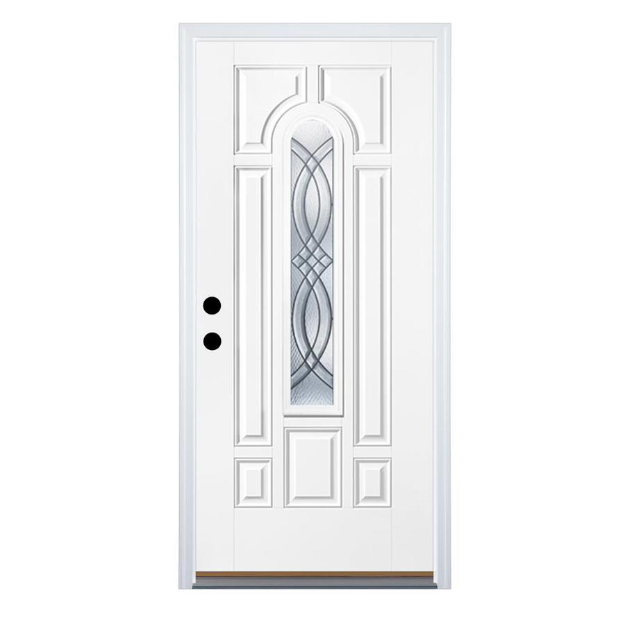 Therma-Tru Benchmark Doors TerraCourt 8-Panel Insulating Core Center Arch Lite Right-Hand Inswing White Fiberglass Primed Prehung Entry Door (Common: 36-in x 80-in; Actual: 37.5-in x 81.5-in)