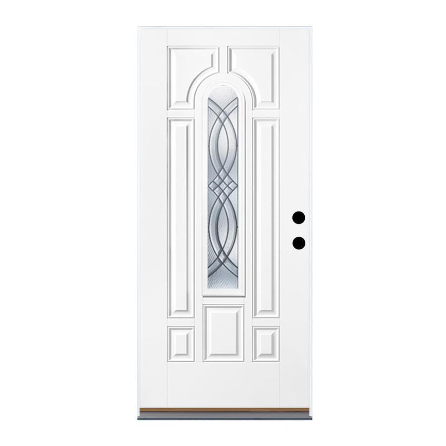Therma-Tru Benchmark Doors TerraCourt 8-Panel Insulating Core Center Arch Lite Left-Hand Inswing White Fiberglass Primed Prehung Entry Door (Common: 36-in x 80-in; Actual: 37.5-in x 81.5-in)