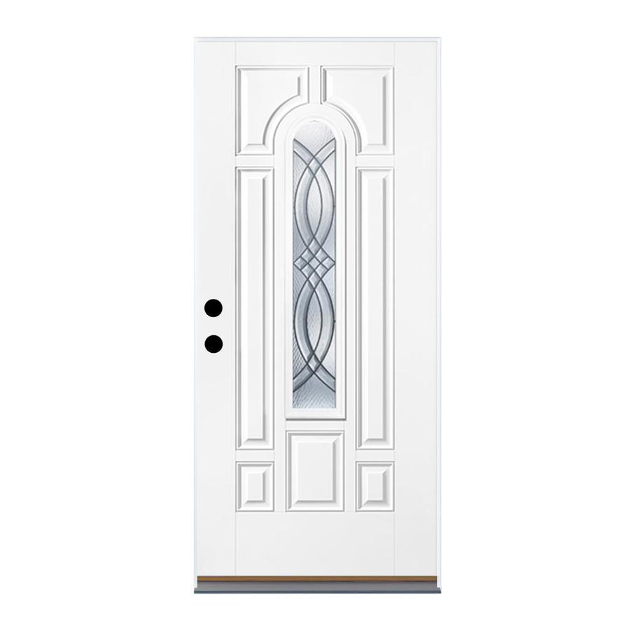 Therma-Tru Benchmark Doors TerraCourt 8-Panel Insulating Core Center Arch Lite Left-Hand Outswing White Fiberglass Primed Prehung Entry Door (Common: 36-in x 80-in; Actual: 37.5-in x 80.5-in)