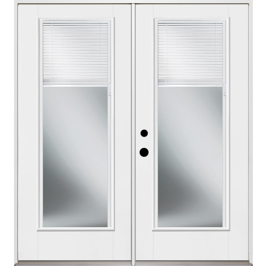 Benchmark by Therma-Tru 70.5625-in Blinds Between the Glass Unfinished Fiberglass French Inswing Patio Door