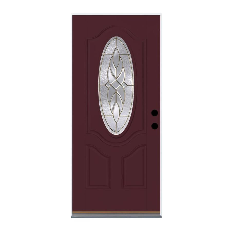 Therma-Tru Benchmark Doors Varissa 2-Panel Insulating Core Oval Lite Left-Hand Inswing Cranberry Fiberglass Stained Prehung Entry Door (Common: 36-in x 80-in; Actual: 37.5-in x 81.5-in)