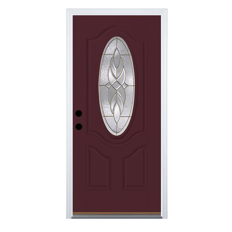 Therma-Tru Benchmark Doors Varissa 2-Panel Insulating Core Oval Lite Right-Hand Inswing Cranberry Fiberglass Stained Prehung Entry Door (Common: 32-in x 80-in; Actual: 33.5-in x 81.5-in)