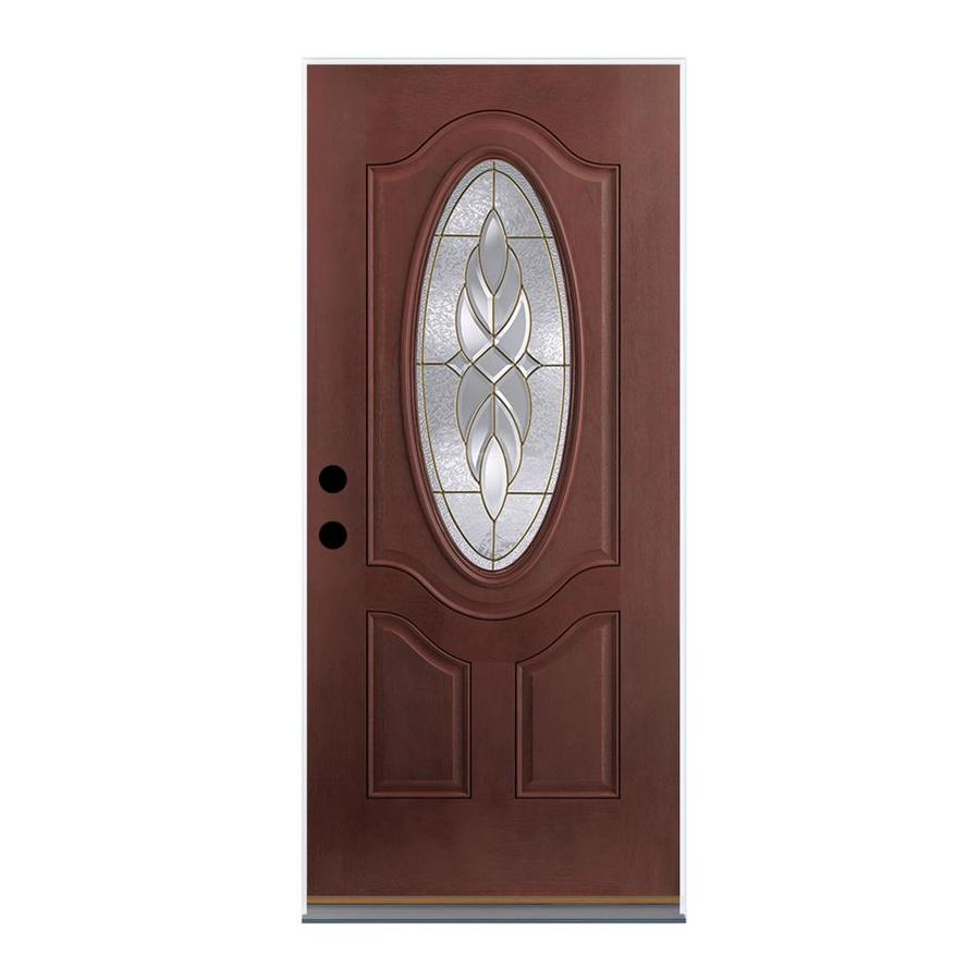 Therma-Tru Benchmark Doors Varissa 2-Panel Insulating Core Oval Lite Left-Hand Outswing Dark Mahogany Fiberglass Stained Prehung Entry Door (Common: 32-in x 80-in; Actual: 33.5-in x 80.5-in)