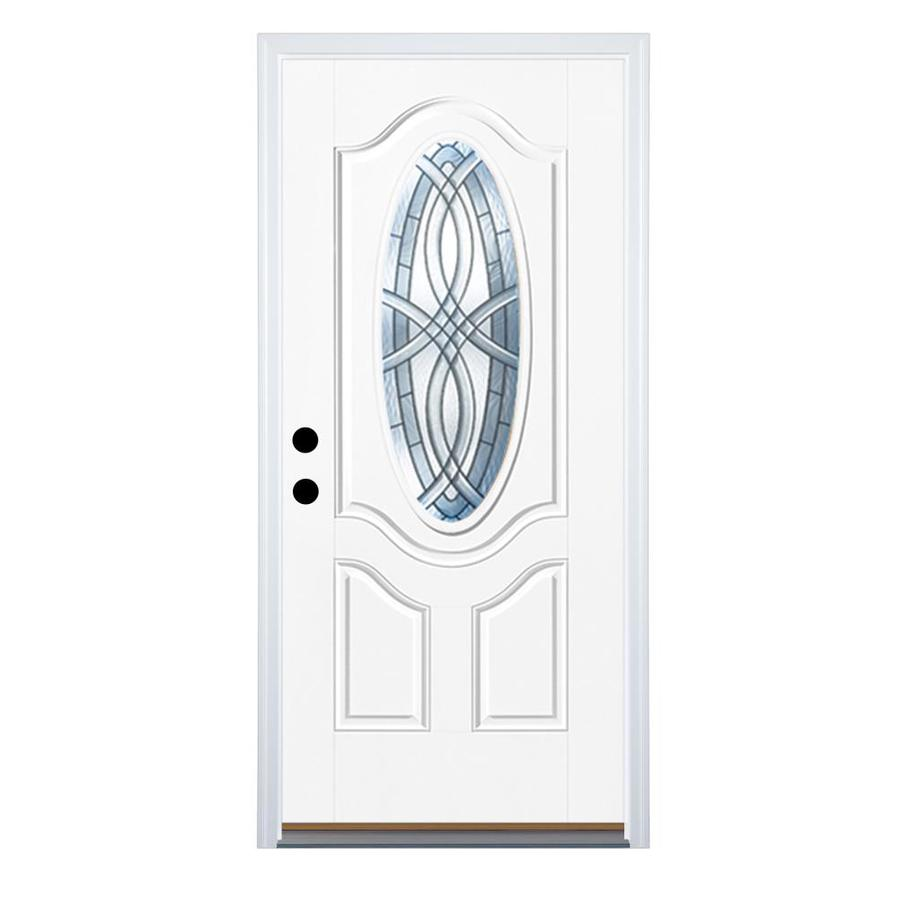 Therma-Tru Benchmark Doors TerraCourt 2-Panel Insulating Core Oval Lite Left-Hand Outswing White Fiberglass Primed Prehung Entry Door (Common: 32-in x 80-in; Actual: 33.5-in x 80.5-in)
