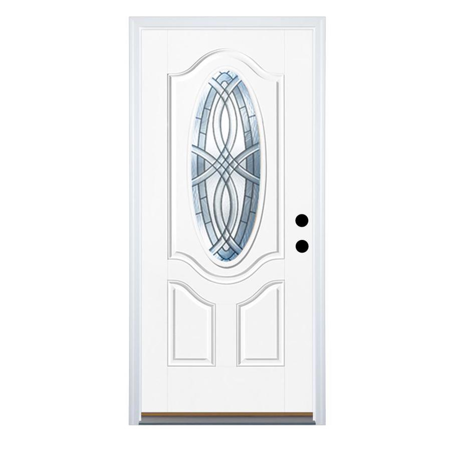 Therma-Tru Benchmark Doors TerraCourt 2-Panel Insulating Core Oval Lite Right-Hand Outswing White Fiberglass Primed Prehung Entry Door (Common: 32-in x 80-in; Actual: 33.5-in x 80.5-in)
