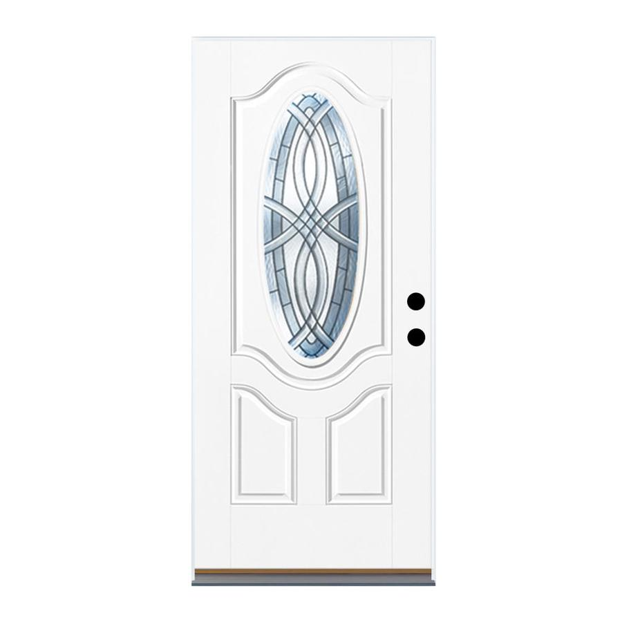 Therma-Tru Benchmark Doors TerraCourt 2-Panel Insulating Core Oval Lite Left-Hand Inswing White Fiberglass Primed Prehung Entry Door (Common: 32-in x 80-in; Actual: 33.5-in x 81.5-in)