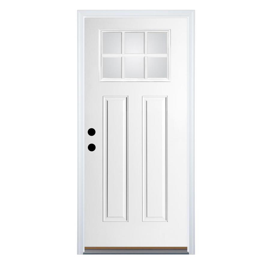 Therma-Tru Benchmark Doors Craftsman Insulating Core Craftsman 6-Lite Right-Hand Inswing White Fiberglass Primed Prehung Entry Door (Common: 32-in x 80-in; Actual: 33.5-in x 81.5-in)