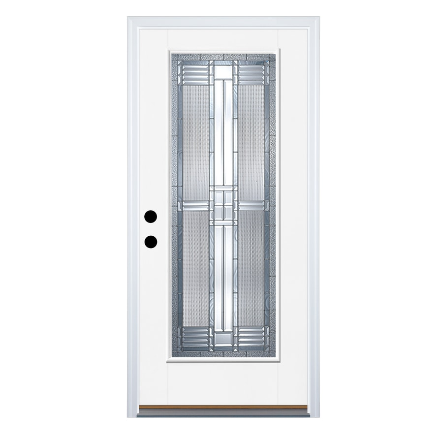 Therma-Tru Benchmark Doors Dunthorpe Flush Insulating Core Full Lite Left-Hand Outswing White Fiberglass Primed Prehung Entry Door (Common: 32-in x 80-in; Actual: 33.5-in x 80.5-in)
