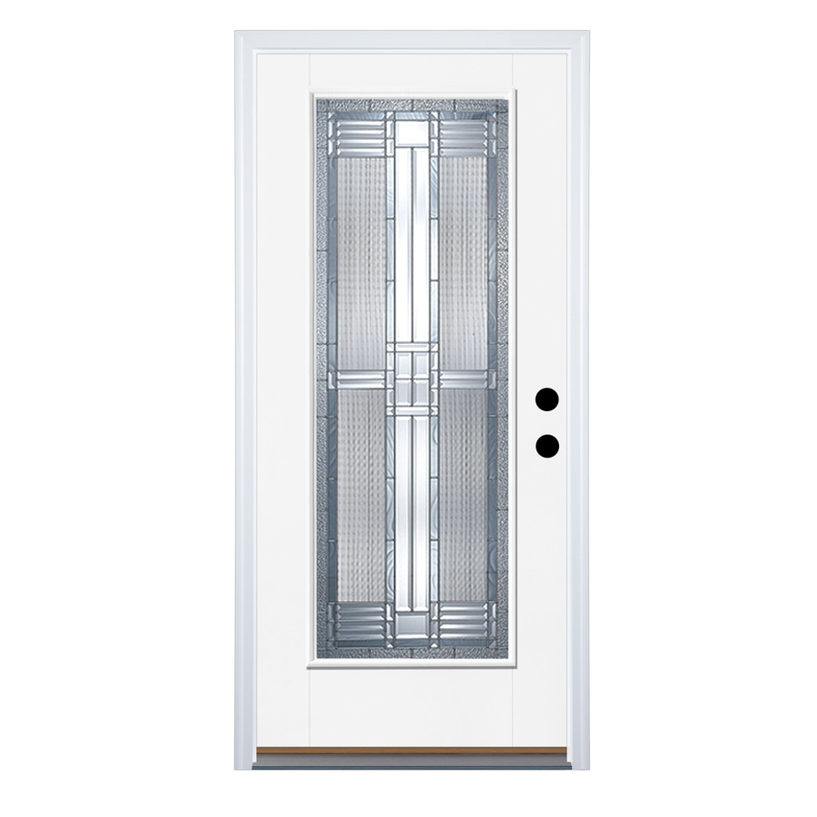 Therma-Tru Benchmark Doors Dunthorpe Flush Insulating Core Full Lite Right-Hand Outswing White Fiberglass Primed Prehung Entry Door (Common: 32-in x 80-in; Actual: 33.5-in x 80.5-in)