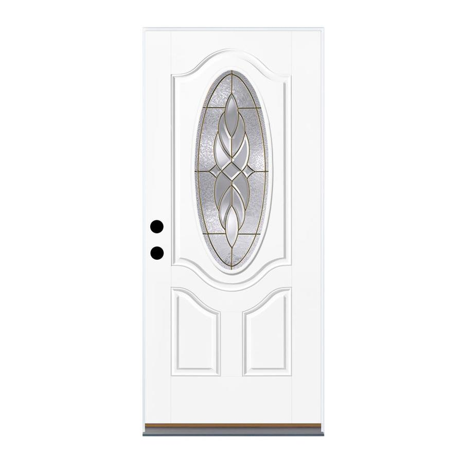 Therma-Tru Benchmark Doors Varissa 2-Panel Insulating Core Oval Lite Right-Hand Inswing White Fiberglass Primed Prehung Entry Door (Common: 32-in x 80-in; Actual: 33.5-in x 81.5-in)