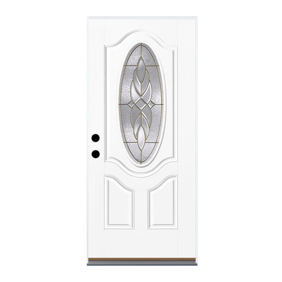 Therma-Tru Benchmark Doors Varissa 2-Panel Insulating Core Oval Lite Left-Hand Outswing White Fiberglass Primed Prehung Entry Door (Common: 36-in x 80-in; Actual: 37.5-in x 80.5-in)