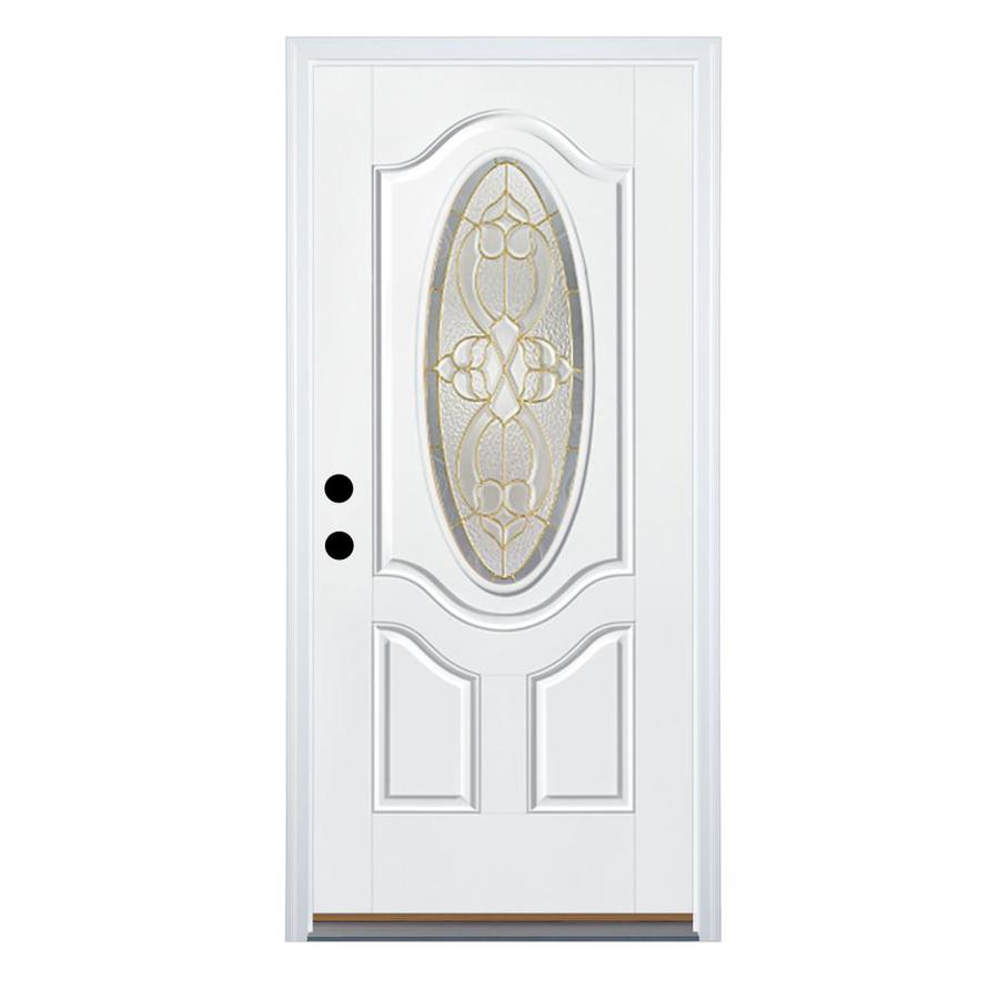 Therma-Tru Benchmark Doors Willowbrook 2-Panel Insulating Core Oval Lite Right-Hand Inswing White Fiberglass Primed Prehung Entry Door (Common: 32-in x 80-in; Actual: 33.5-in x 81.5-in)