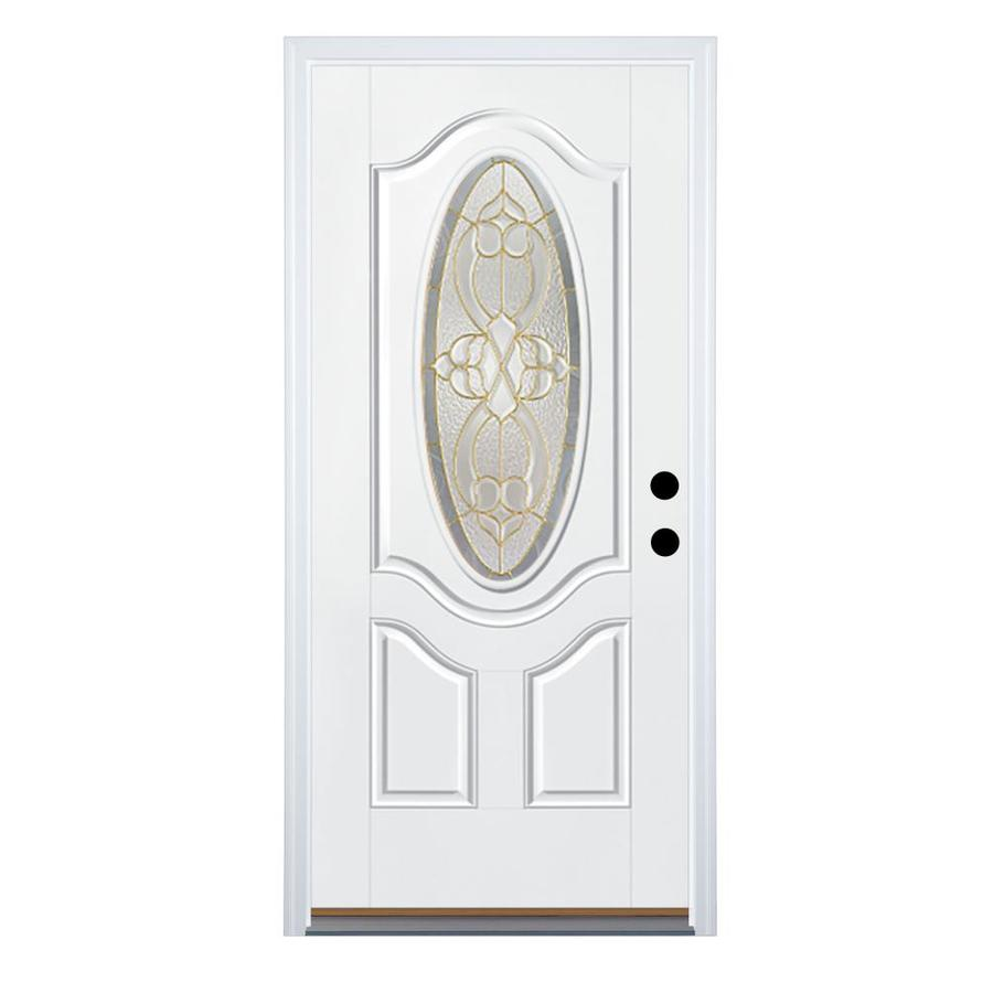 Therma-Tru Benchmark Doors Willowbrook 2-Panel Insulating Core Oval Lite Right-Hand Outswing White Fiberglass Primed Prehung Entry Door (Common: 32-in x 80-in; Actual: 33.5-in x 80.5-in)