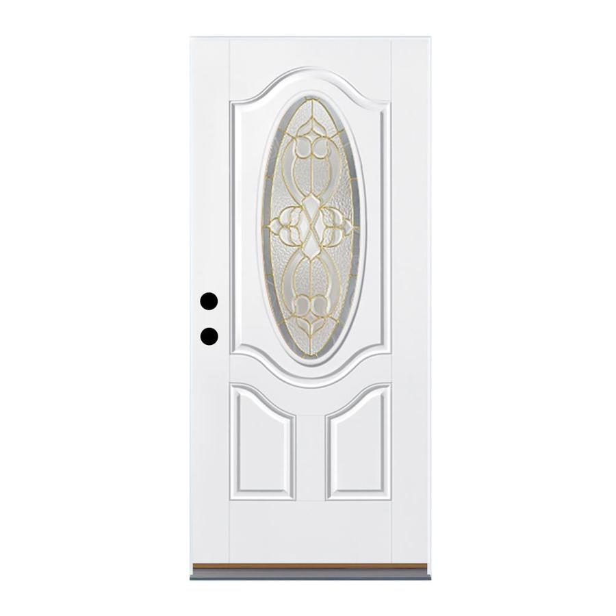 Therma-Tru Benchmark Doors Willowbrook 2-Panel Insulating Core Oval Lite Left-Hand Outswing White Fiberglass Primed Prehung Entry Door (Common: 32-in x 80-in; Actual: 33.5-in x 80.5-in)