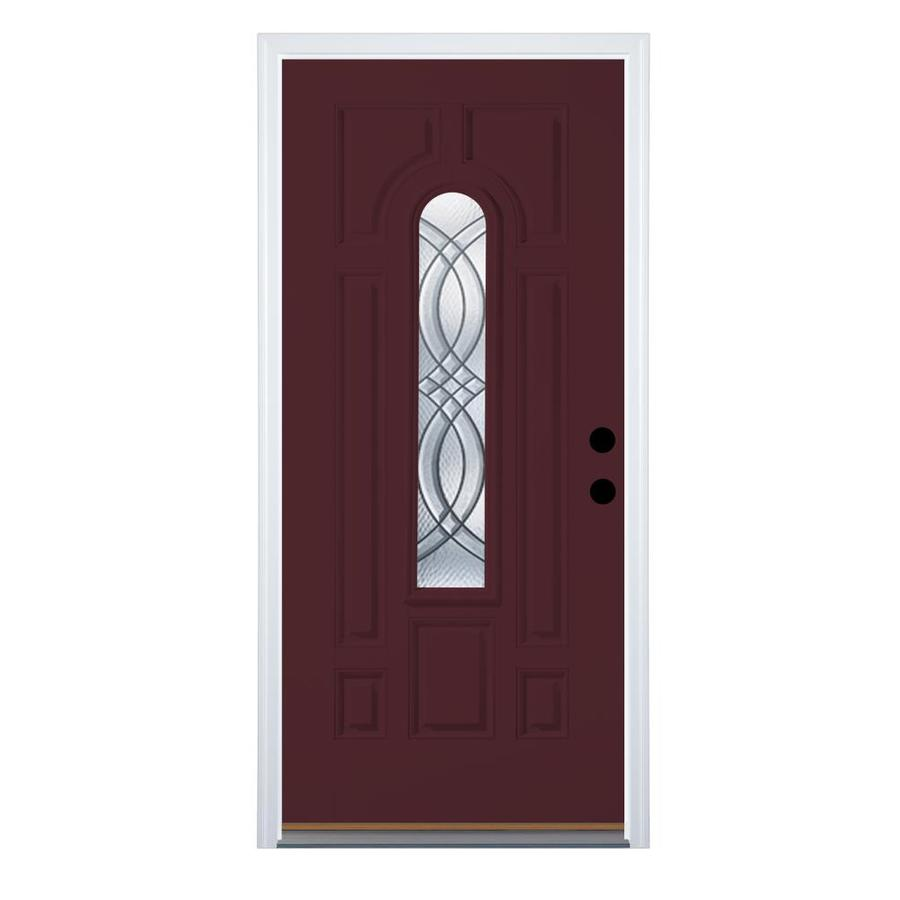 Therma-Tru Benchmark Doors TerraCourt 8-Panel Insulating Core Center Arch Lite Right-Hand Outswing Cranberry Fiberglass Primed Prehung Entry Door (Common: 32-in x 80-in; Actual: 33.5-in x 80.5-in)