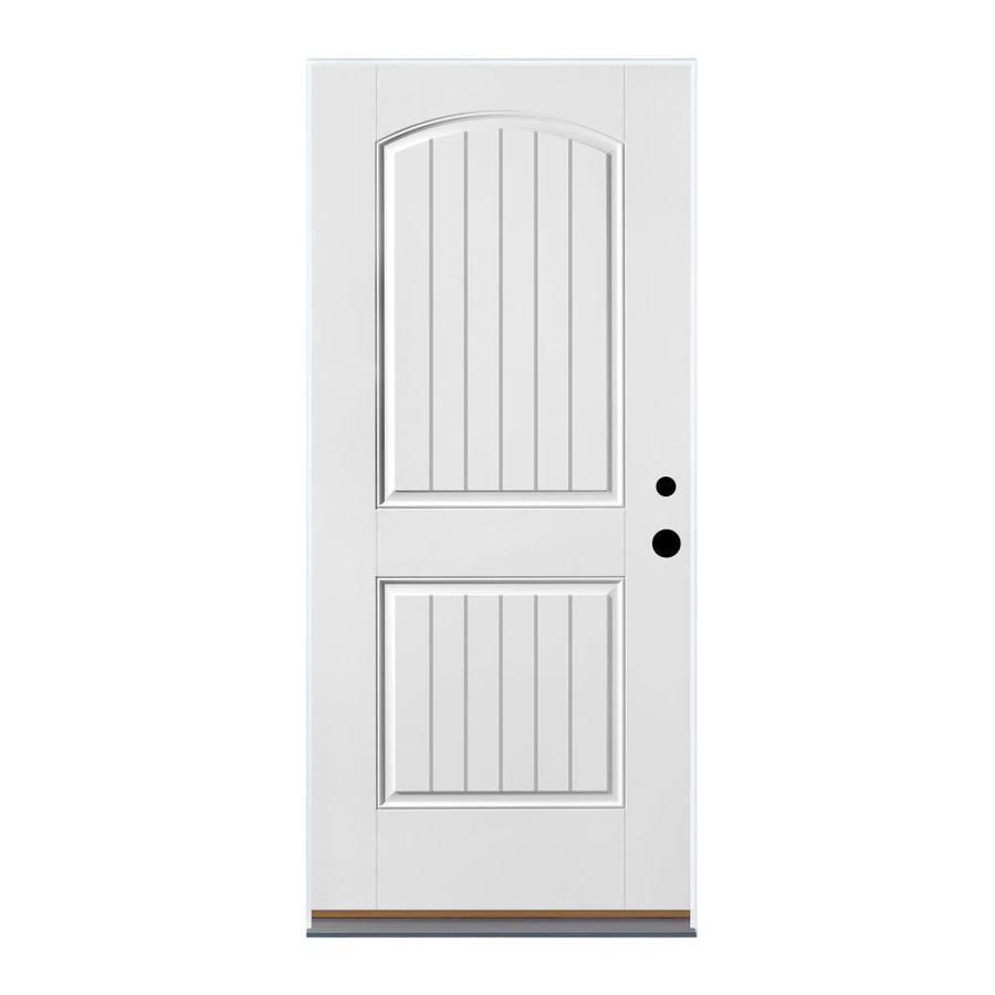 Therma-Tru Benchmark Doors 2-Panel Insulating Core Left-Hand Inswing White Fiberglass Primed Prehung Entry Door (Common: 36-in x 80-in; Actual: 37.5-in x 81.5-in)