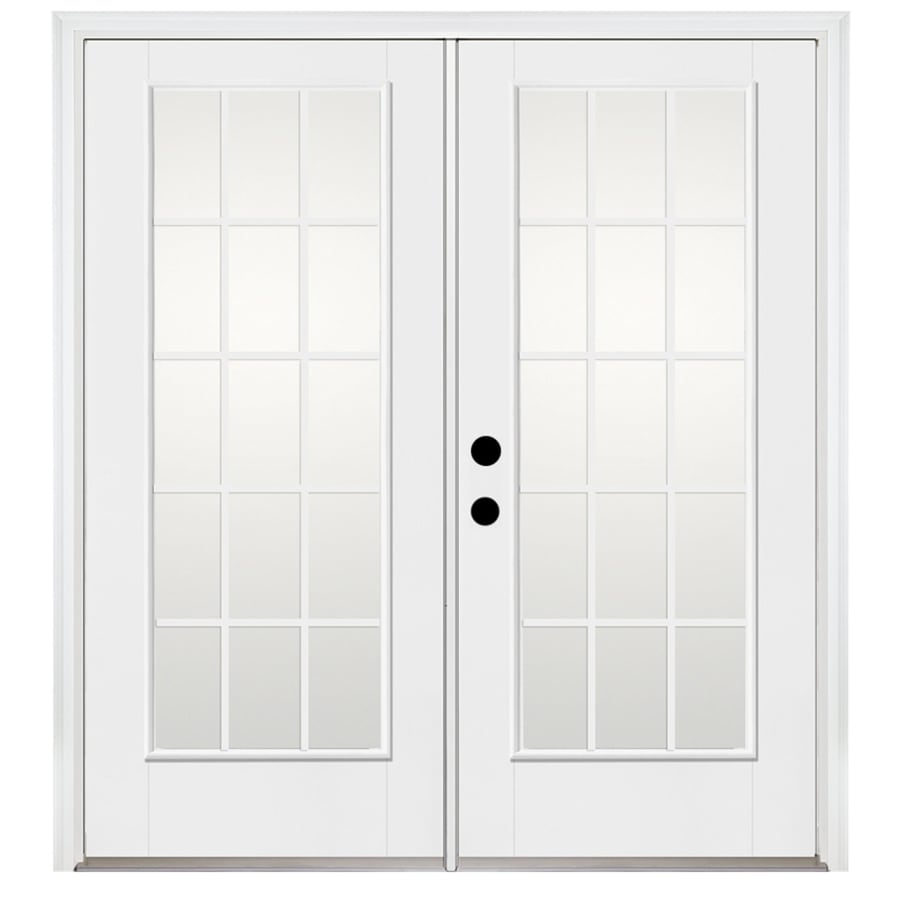 Benchmark by Therma-Tru 70.5625-in 15-Lite Grilles Between The Glass Fiberglass French Inswing Patio Door