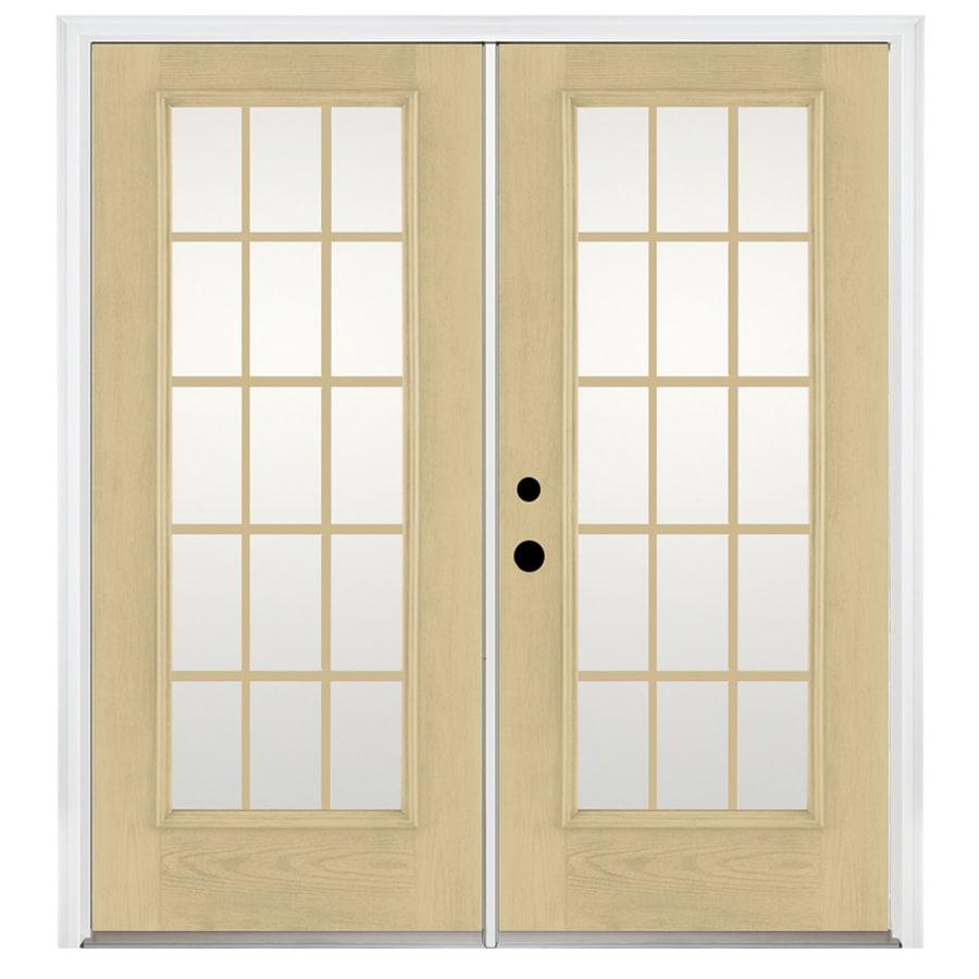Benchmark by Therma-Tru 70.5625-in 15-Lite Grilles Between the Glass Fiberglass French Inswing Patio Door